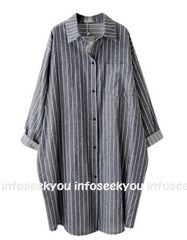 3L4L5L大きいサイズ/ストライプゆるロングシャツ
