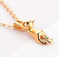 新品1円〜★送料無料★黄金の輝き silver925ぶらさがりネコ猫ネックレス