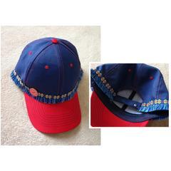 男女兼用■ネイビー/レッドキャップ 帽子■チロリアンフリンジ