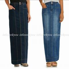 4L大きいサイズ/ロングデニムタイトスカート/ネイビー