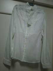 MENU-010新品タグつきMサラサラコットンフリルレース付きシャツ