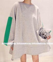 3L4L5L大きいサイズ/袖グリーンライン〜裾フレアチュニック