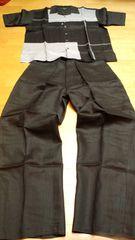 GODBODY セットアップ 半袖シャツ 黒グレー 2XL W42 麻100