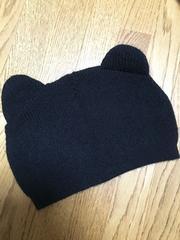 猫耳!?クマ耳?!可愛いニット帽子ブラック