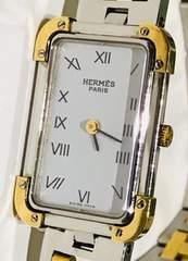 良品エルメスクロアジュールレディース時計シルバーブレス稼働品