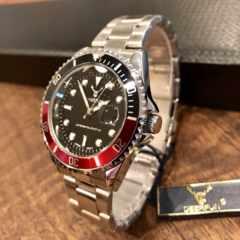 最安値!ロレックス・サブマリーナタイプ◇クォーツ メタル腕時計・黒×赤