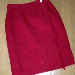 米国デザイナー スカート ツィードラップ 巻きスカート