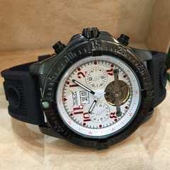 ブライトリング好きの方に人気♪全針稼動★自動巻きラバー腕時計・ホワイト