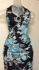 ブルーのお華のツーピースドレス