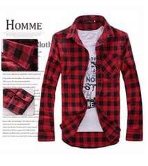 メンズ チェックシャツ 長袖 赤 レッド XL