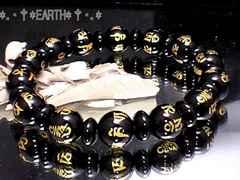 天然石★10ミリ六字真言黒瑪瑙オニキス&釦ボタン黒瑪瑙数珠