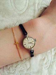 オメガ アンティーク腕時計 ブレスウォッチ シルバー×ブラック
