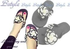 NEW最新cocoバイカラーお花カメリアNoパール海外セレブshoes靴サンダル限定b4018