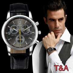 腕時計 メンズ  高品質レザー 革 ベルト ウォッチ 黒色