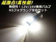 メール便可 H3 LEDフォグ バルブ 高品質 白12V/24V兼用/トラック