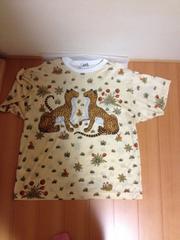 綺麗・エルメスのTシャツ>上品薄クリーム色、パンサー2頭