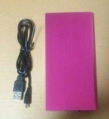 ☆薄型モバイルバッテリー 8000mAh iPhoneスマホ充電器 ピンク