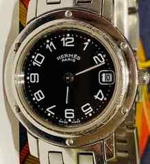 良品エルメスクリッパーレディース時計ブラック文字盤CL4.210