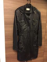黒ブラックレザー羊本革OTTOセミロングフード付コートL美品