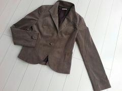 【即決】ベロア素材のジャケット★スタンドカラー☆グレイッシュブラウン♪9号