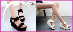 特価☆快適ファッション厚底サンダル/黒/白/スポサン/夏/靴/海