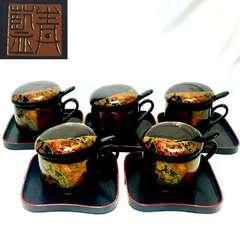 レンジ可!染錦青藍窯バラエティーセット茶碗蒸し5客20点セット