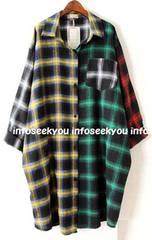 3L4L5L大きいサイズ/カラー切替チェックロングシャツ