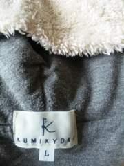 中古KUMIKYOKU男女兼用?パ-カ-ジャンバ-L120-130組曲オフホワイト×グレ-