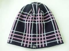 9029/ステューシーお洒落なチェック柄のニット帽子男女兼用でお勧めです