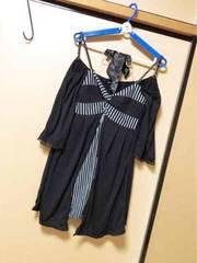 黒にストライプ重ね着みたいな可愛いオシャレワンピL 結婚式に