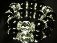 大特価!64面ダイヤカット水晶×ブラックオニキス数珠ブレス