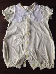 美品50〜60新生児〜退院時にも半袖カバーオール フリフリ リボン
