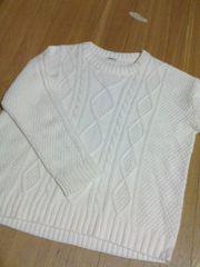 white/ニットLL