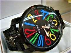 正規VITAROSOブラックベルト腕時計◆GAGAガガミラノtype◆