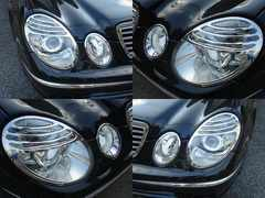 ベンツ メッキヘッドライトリングW211E55カールソン後期ルック