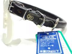 送205円鋲付皮革丸首輪Black#18黒高級34~39cm15kg20kg犬用ブラック