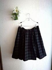 LE CIEL BLEW☆紺×黒☆千鳥柄タックフレアサーキュラースカート