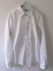 綿麻リネンストレッチボタンダウンシャツMホワイト白新品※2点送料無料
