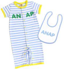新品ANAPKIDS☆ロゴ スタイ&ロンパース 70 ブルー アナップキッズ
