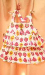 新品◆ダブルガーゼ2段フリルキャミソールチュニック120苺イチゴ