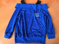 肩出しニット タンクトップ一体型 セーター ブルー 150