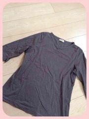 茶系ボーダー/Vネック/7分丈インナー/7分丈Tシャツ/Lサイズ