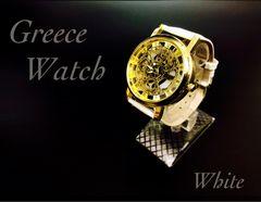 腕時計 メンズ レザー 革ベルト ギリシャ文字 金フレーム 白色