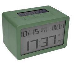 電波時計 ソーラー充電 USB充電 置時計 デジタル グリーン