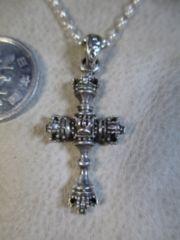 Silver925 純銀 王冠クロス+925チェーン45cm 6.2g P58