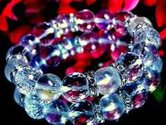 アクアレインボーオーラ§ダイヤカット水晶§12ミリ§銀ロンデル