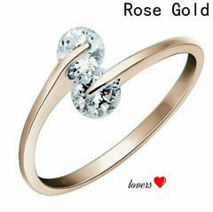 送料無料14号ピンクゴールドスーパーCZダイヤモンドリング指輪