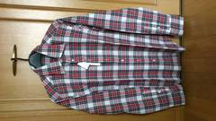 激安80%オフhLam、長袖シャツ(新品タグ、赤白、イタリア製、L)