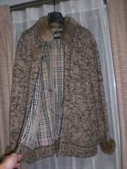 バーバリーブラックレーベル ホースマーク刺繍ラビットファー付ニットジャケット