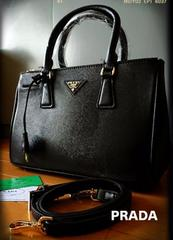 PRADA italyサフィアーノ黒レザー2wayプレミアム高品質バッグ